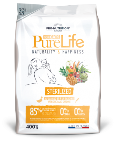 Pure Life Cat STERILIZED С ПАТЕШКО И САРДИНИ 400 g